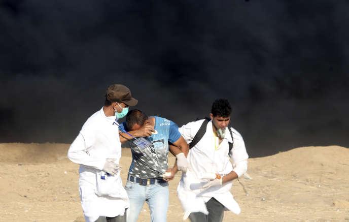 A Khan Younis, dans le sud de la bande de Gaza, à la frontière avec Israël le 24 août.