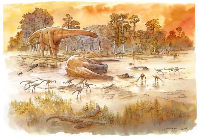 L'ornithomimosaure était un petit dinosaure de 5 mètres qui peuplait la région d'Angeac-Charente. Le dessinateur Mazan les a dessinés, ici au second plan.