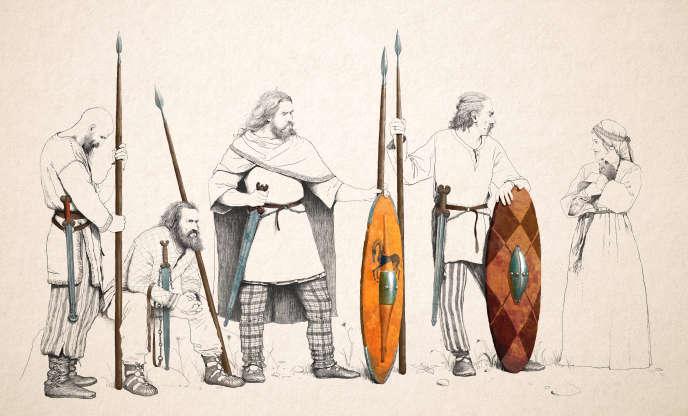 Restitution idéalisée de guerriers sénons du dernier quart du IVe s. – premier quart du IIIe s. avant J.-C.
