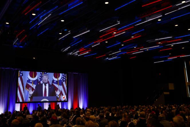 Le président Donald Trump, lors d'un dîner du Parti républicain, le 24 août, à Columbus (Ohio).