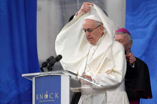 Le pape François lors de sa visite du sanctuaire de Knock (Irlande) le 26août 2018.