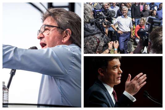 Le dirigeant de La France insoumise, Jean-Luc Mélenchon ; le président des Républicains, Laurent Wauquiez ; le premier secrétaire du PS, Olivier Faure.