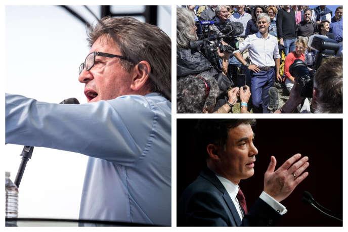Le dirigeant de La France insoumise, Jean-Luc Mélenchon; le président des Républicains, Laurent Wauquiez; lepremier secrétaire du PS, Olivier Faure.