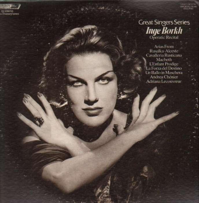 Pochette d'un album consacré aux plus grands rôles d'opéra interprétés par la soprano Inge Borkh.