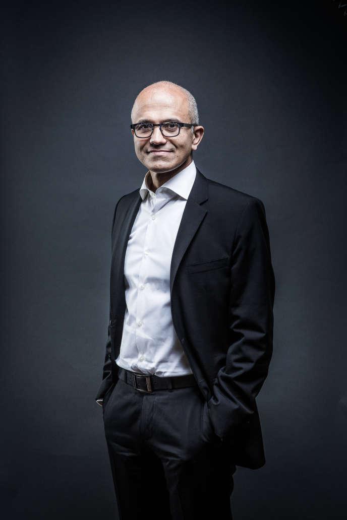 Satya Nadella, patron de Microsfoft, en novembre2015, à Paris.