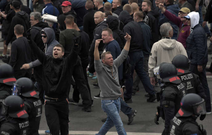 Manifestation de l'extrême droite à Chemnitz, le 27août 2018.