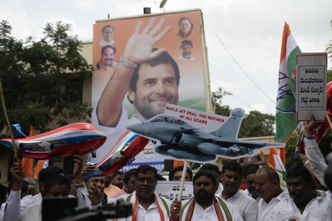 Manifestation du parti de Rahul Gandhi, le 1er août à Hyderabad (Etat du Telangana), pour demander des explications sur «l'affaire Rafale».