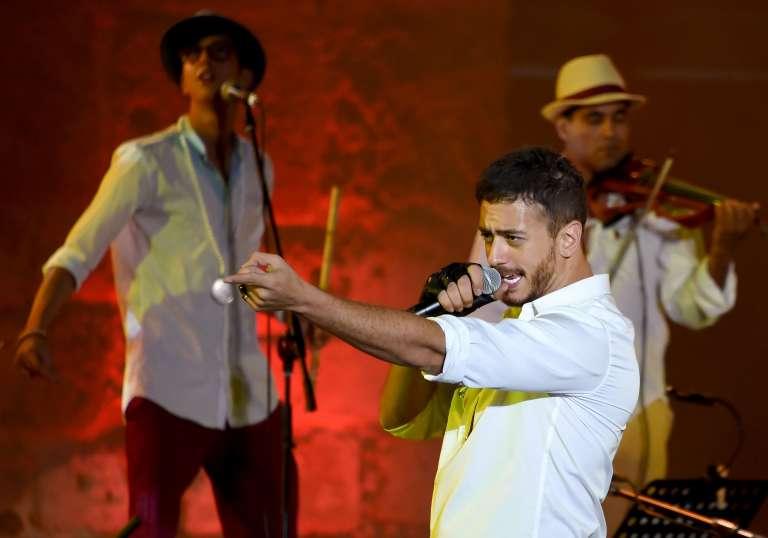 Saad Lamjarred en concert au festival de Carthage (Tunisie), le 31 juillet 2016.