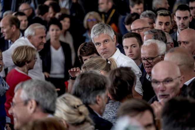 Laurent Wauquiez, président des Républicains à la fête départementale de la fédération les Républicains de la Haute-Loire, le 27 août.