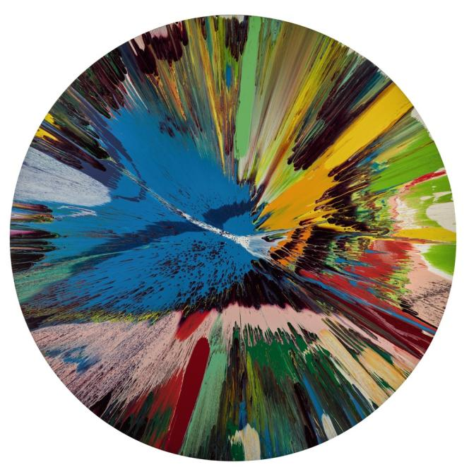 Damien Hirst Beautiful, all round, lovely day, big toys for big kids, Frank and Lorna, when we are no longer children, we are already dead painting, 1998.