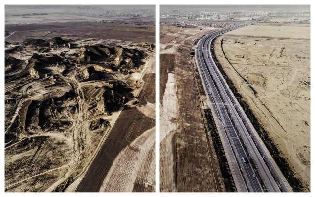 La nouvelle ville de Lanzhou, province du Gansu, dans le nord-ouest de la Chine. Les villages et collines des alentours ont laissé place aux constructions et routes.