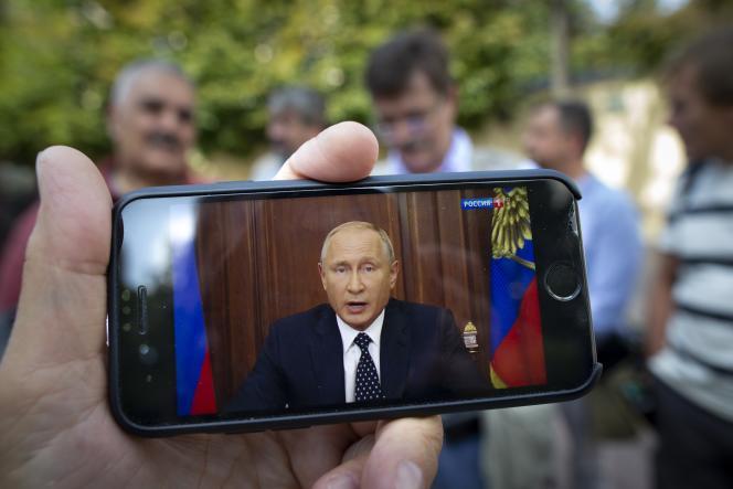 Vladimir Poutine, le 29 août, au cours de son intervention télévisée.