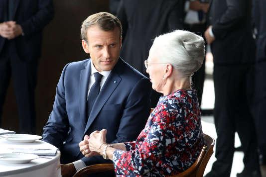 Le président Emmanuel Macron et la reine Margrethe II, à Copenhague, le 29 août 2018.