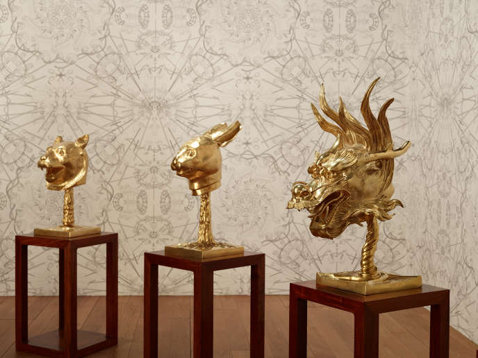 « Circle of Animals» («Cercle d'animaux », 2012), d'Ai Weiwei, bronze doré, 12 pièces, dimensions variables.