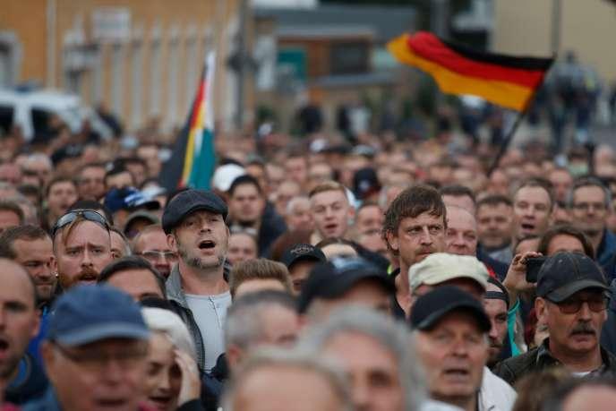 Manifestation de l'extrême droite, à Chemnitz, le 30 août.
