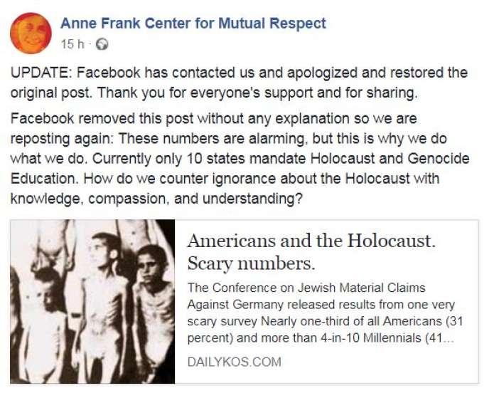 La publication censurée par Facebook, une fois remise en ligne et mise à jour par le Anne Frank Center.
