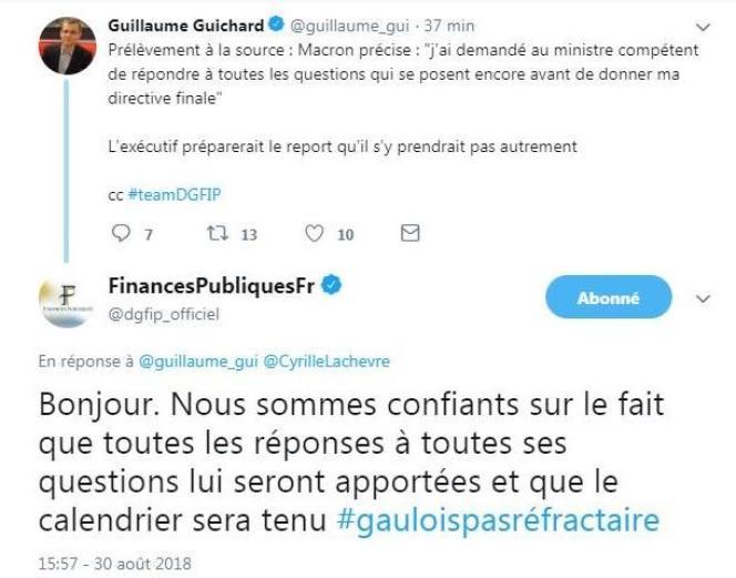 La réponse des finances publiques à la question d'un journaliste du« Figaro», jeudi 30 août sur Twitter.