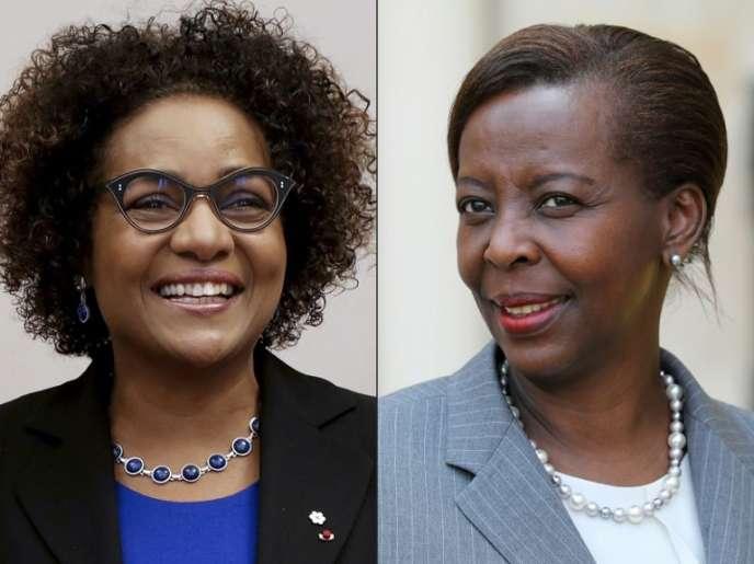 L'actuelle secrétaire générale de l'Organisation internationale de la francophonie, la Canadienne Michaëlle Jean (gauche), et sa challengeuse Louise Mushikiwabo, ministre rwandaise des affaires étrangères.