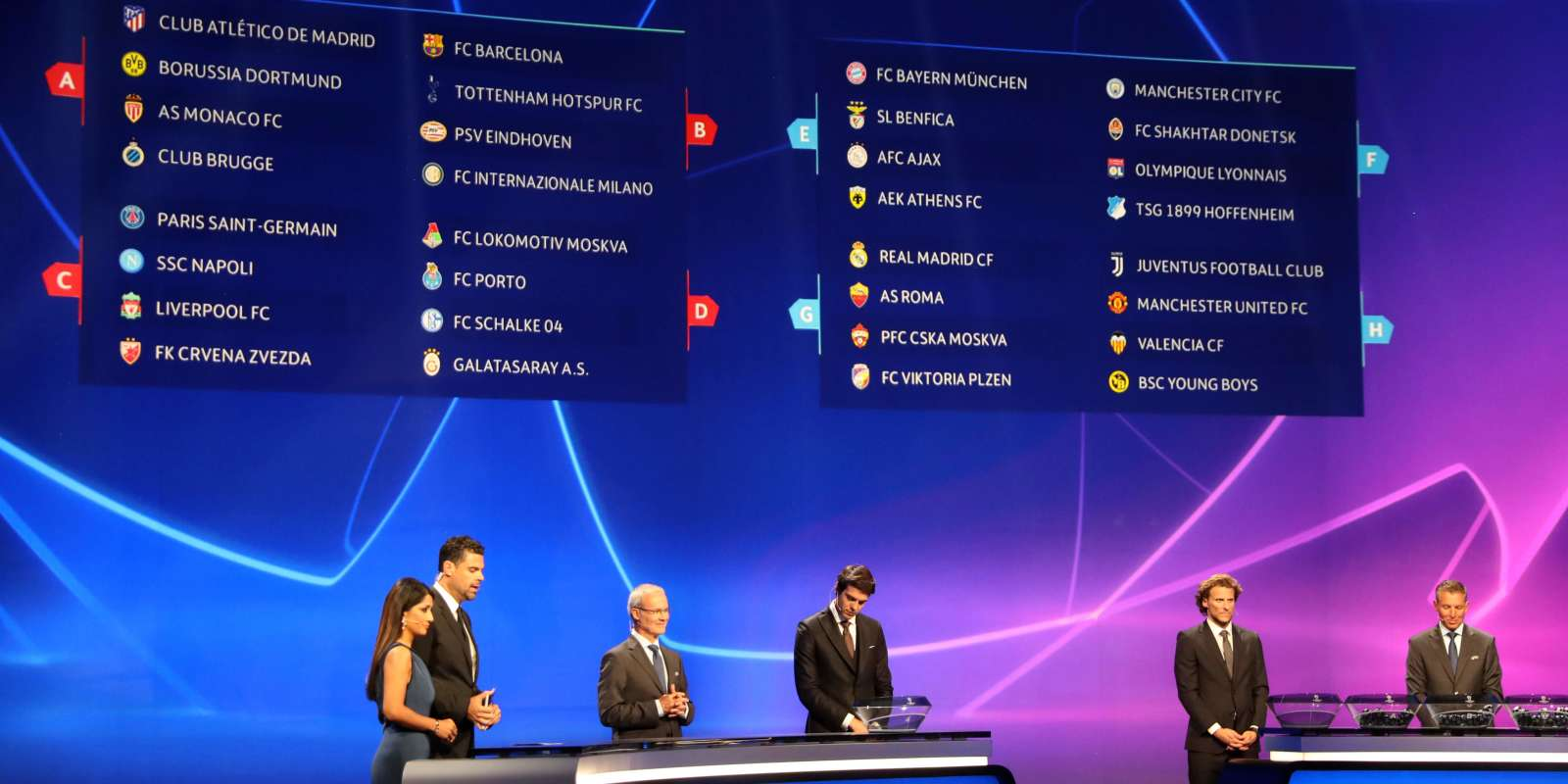 A board displays the result of the draw for UEFA Champions League football tournament at The Grimaldi Forum in Monaco on August 30, 2018. / AFP / Valery HACHE