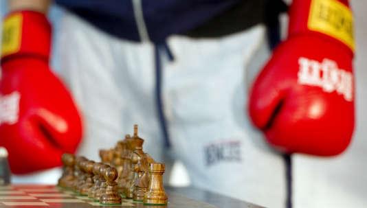 Un joueur de« chess boxing» à Berlin, en juin 2011.
