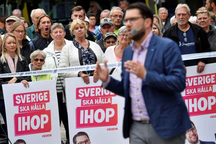 Prise de parole du dirigeant des Démocrates de Suède, Jimmie Akesson, à Landskrona, le 31 août.