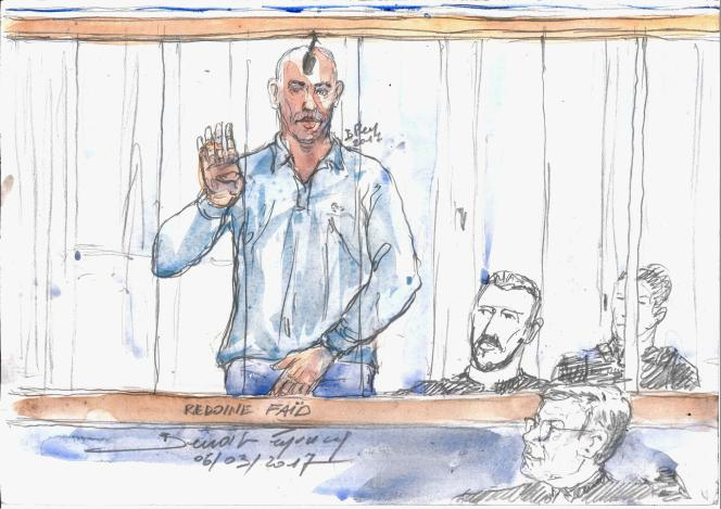 Redoine Faïd (croqué ici lors de son procès en 2013)avait été condamné en avril à vingt-cinq ans de prison pour son rôle d'« organisateur » dans un braquage raté en 2010, qui avait coûté la vie à une policière municipale.
