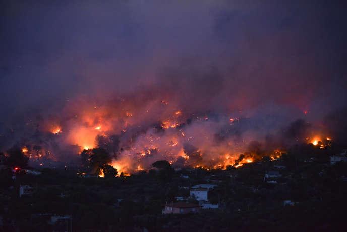 Incendie à Rafina, près d'Athènes, le 23 juillet.