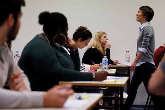 Lors de l'épreuve de philosophie du baccalauréat, le 18 juin 2018, au lycée Fresnel de Caen.