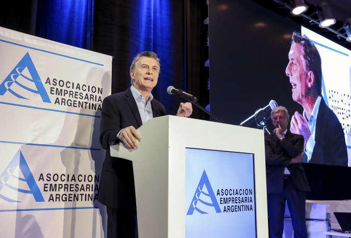 Le président argentin, Mauricio Macri, lors de la réunion annuelle de l'association des entrepreneurs argentins,à Buenos Aires, le 16 août.