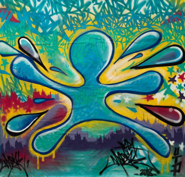 PapaMesk est graffeur depuis 1986 et fut témoin de l'évolution du graffiti à Paris, à Londres et à Amsterdam. Dans son travail, il passe naturellement des murs à la toile — ici chaque touche de couleur s'harmonise pour composer une goutte d'eau qui s'étale sur la surface du support.