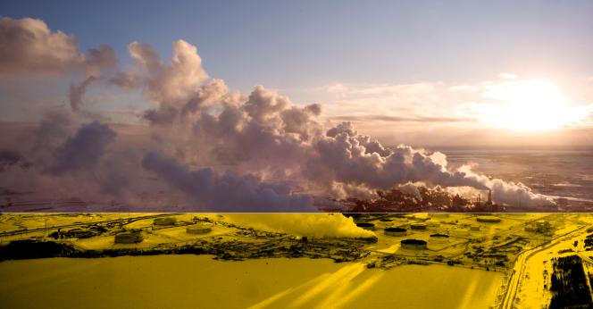 L'Usine Syncrude d'extraction vue du ciel, en février. D'après une photographie de Samuel Bollendorff.