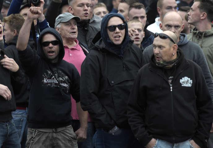 Rassemblement de militants d'extrême droite de diverses obédiences à Chemnitz (Allemagne), le 1er septembre.