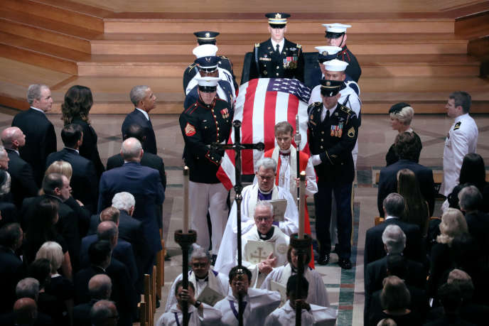 Les funérailles nationales du sénateur John McCain, à la cathédrale nationale de Washington, le 1er septembre 2018.