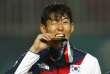 Clin d'oeil du capitaine de l'équipe de Corée du Sud, médaille d'or des Jeux asiatiques le 1er septembre.