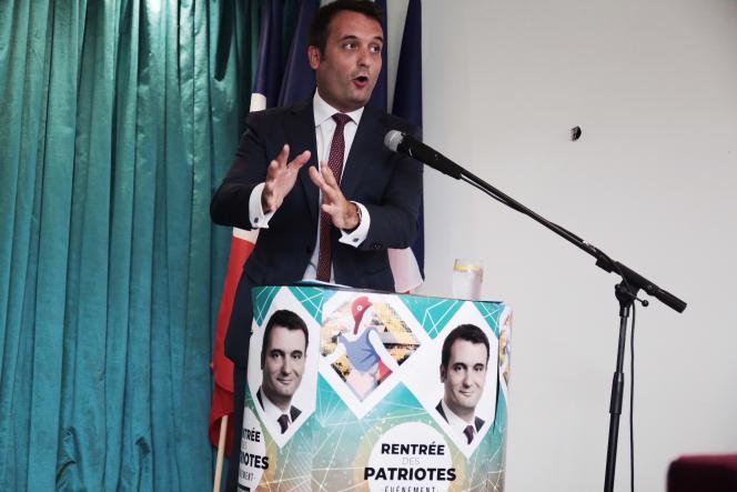 Florian Philippot, président des Patriotes, lors de sa rentrée politique à Forbach, le 2 septembre.