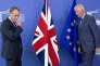 Le secrétaire d'Etat britannique au Brexit, Dominic Raab, et le négociateur pour l'UE, Michel Barnier, à Bruxelles, le 31 août.