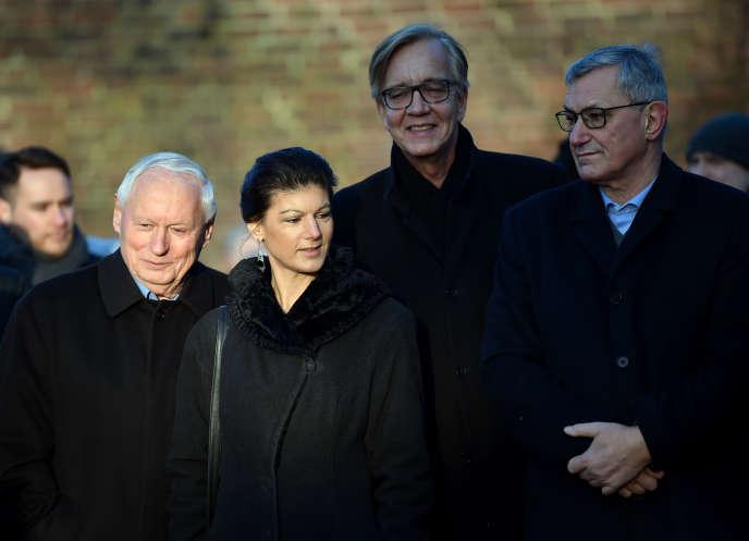 Sahra Wagenknecht et Oskar Lafontaine (à gauche), son mari, ex-ministre et cofondateur de Die Linke, à Berlin, le 14 janvier.