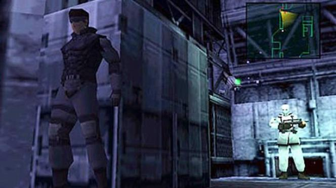 Solid Snake tentant d'échapper à l'attention d'un garde, dans « Metal Gear Solid » (1998).