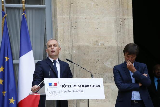 François de Rugy, lors de la passation des pouvoirs avec Nicolas Hulot, le 4 septembre.