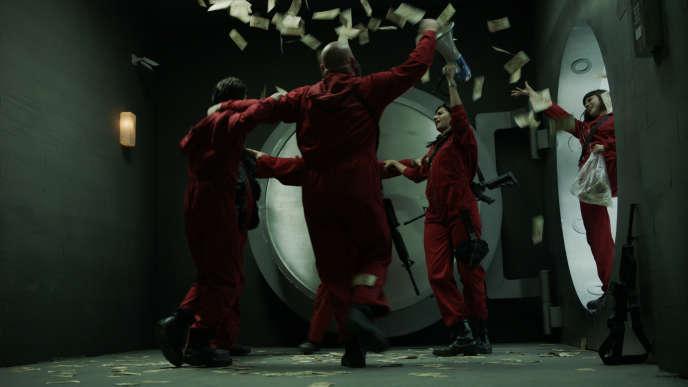 Une scène de la série« La casa de papel »,le plus grand succès en espagnol de Netflix.
