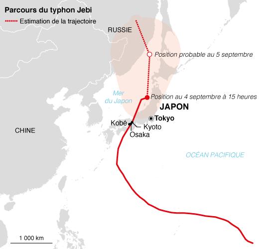 Trajectoire du typhon Jebi