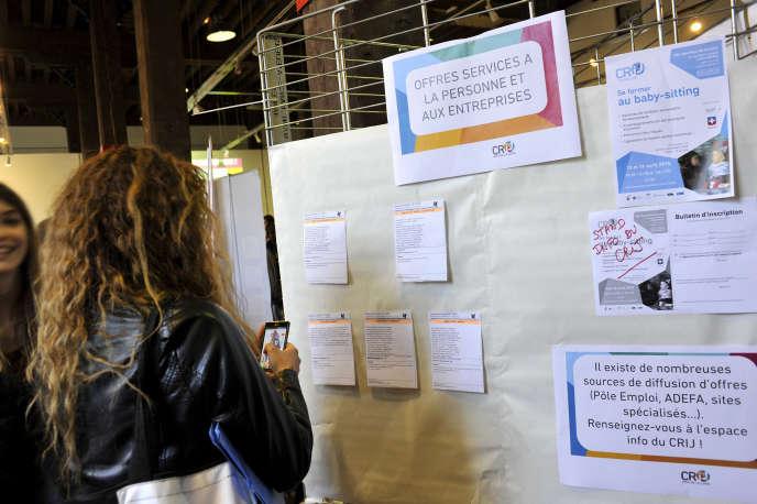 Lors d'un forum pour trouver un job organisé par le centre régional d'information jeunesse à Nantes, en 2015.