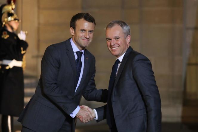Emmanuel Macron et François de Rugy, lors d'une rencontre à l'Elysée, le20novembre2017.