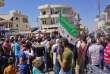 Manifestation contre le régime, àBinnish, dans la province d'Idlib (Syrie), le 31 août 2018.