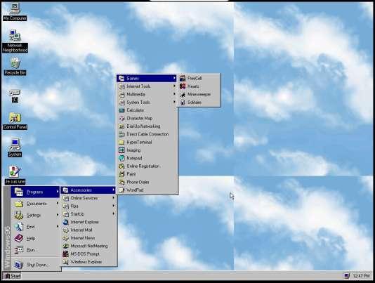 Les menus de Windows 95.