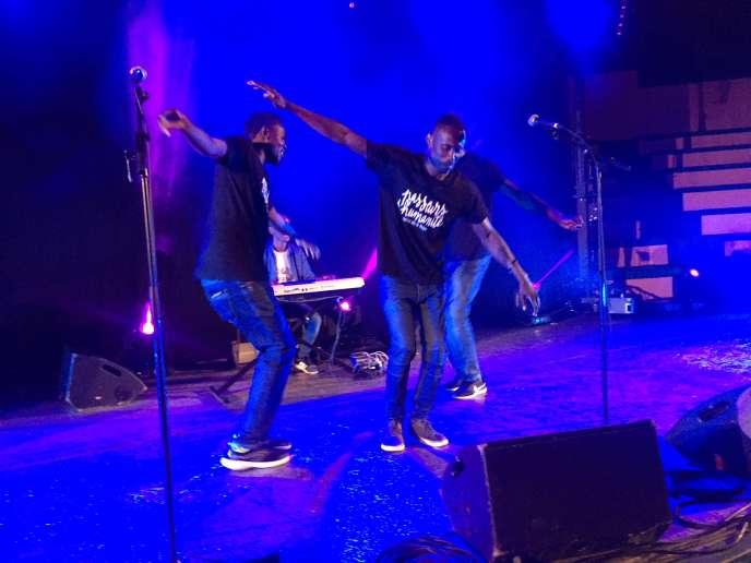 Les Soudan Célestins Music sur la scène du festival des Passeurs d'humanité, à Breil-sur-Roya, le 12juillet 2018.