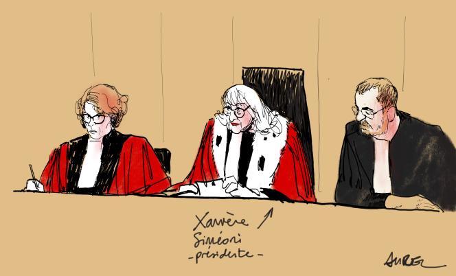 La présidente et les assesseurs, le 4 septembre 2018, lors du premier jour d'audience du procès des trois skinheads impliqués dans le meurtre du jeune antifasciste, Clément Méric, devant les assises du Palais de justice, à Paris.