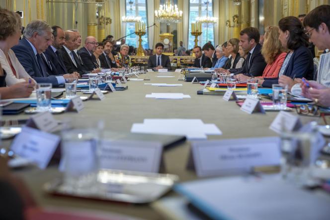 Conseil des ministres au palais de l'Elysée à Paris, mercredi 5 septembre.