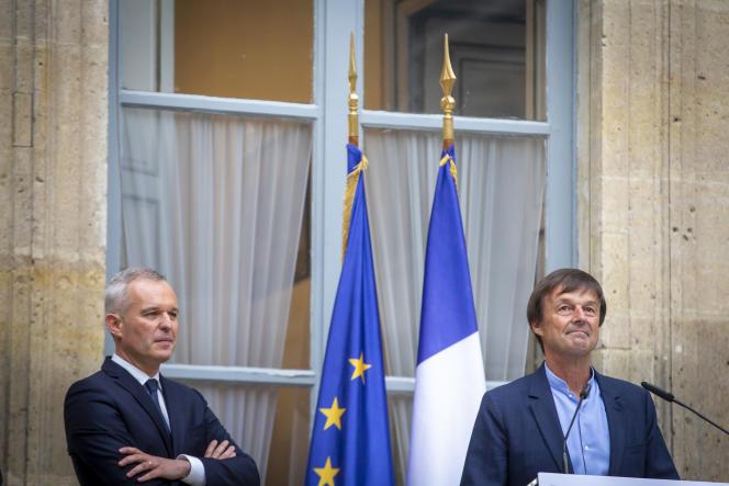 Passation des pouvoirs, au ministère de la transition écologique et solidaire, entre Nicolas Hulot et François de Rugy, à Paris, le 4 septembre.