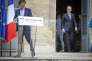 Nicolas Hulot et François de Rugy, lors de la passation des pouvoirs au ministère de la transition écologique et solidaire, à Paris, mardi 4 septembre.